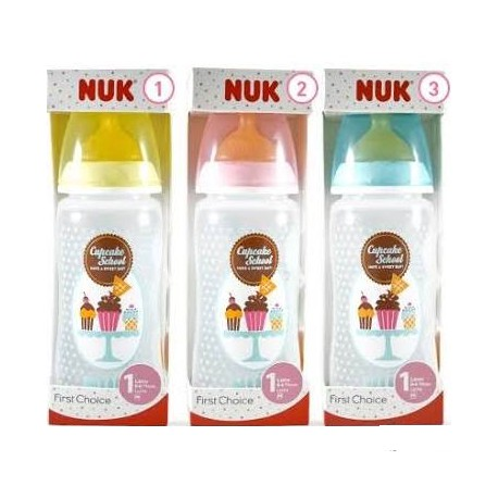 NUK CUPCAKE BIBERÓN FIRST CHOICE LATEX TALLA 1M 300 ML