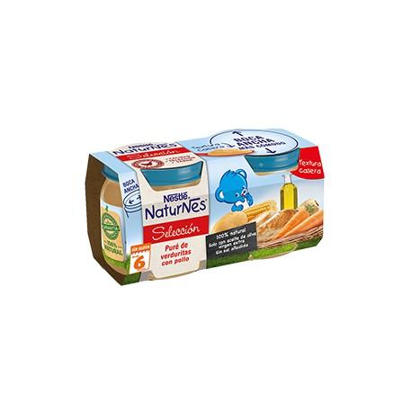 NESTLÉ NATURNES SELECCIÓN Puré de verduritas con pollo 2x200 +6