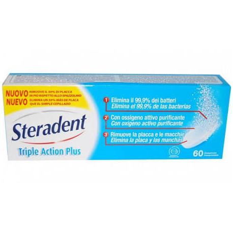 Steradent Active Plus 60 Tabletas Limpiadoras