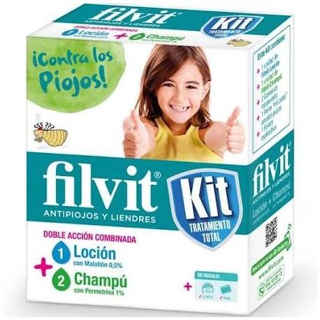 Filvit Kit de Tratamiento Total Antipiojos  Loción + Champú + Gorro + Lendrera