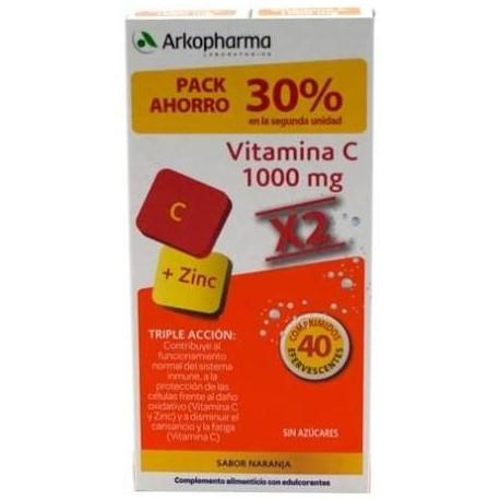 Arkopharma Vitamina  C 1000 mg + zinc 40 com.  Efevercentes Pack ahorro 30%