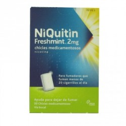 NIQUITIN FRESHMINT 2 MG CHICLES MEDICAMENTOSOS, 100 chicles