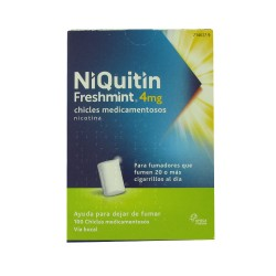 NIQUITIN FRESHMINT 4 MG CHICLES MEDICAMENTOSOS, 100 chicles