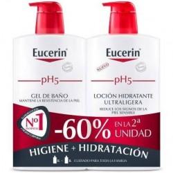 Eucerin Duplo Loción Hidratante Ultraligera 1l + Gel De Baño 1