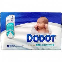 Pañales Dodot Pro Sensitive plus  Talla 1 Hasta 2-5 Kg 38Uds