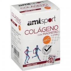 Amlsport colágeno con magnesio + vit. C fresa 20 sticks