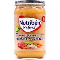 Nutriben Potitos Jamón y Ternera con Menestra de Verduras 235g